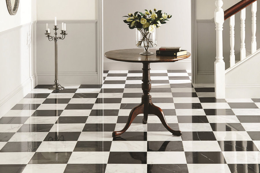 black and white checker floor of ceramic tiles orig