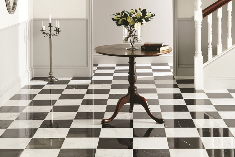 Black and white checker floor of ceramic tiles